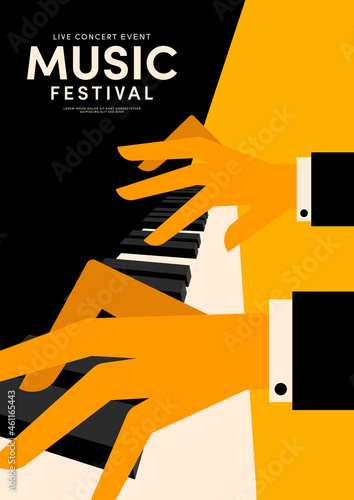 Fototapeta Music poster decorative with pianist playing piano design template background vi