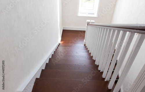 Cuadros en Lienzo wooden staircase with brown treads and white risers and balusters