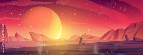 Fotografiet Alien planet landscape, dusk or dawn desert surface with mountains, rocks and sun shining on red and orange starry sky