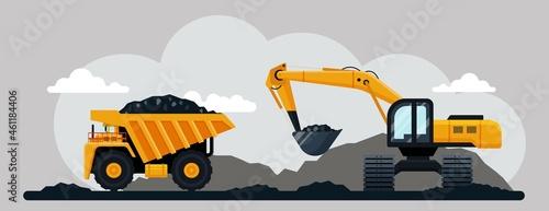 Fotografie, Obraz Excavator and dump truck working at coal mine, flat vector illustration