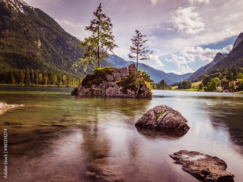 Fotografering View of the Hintersee in the Berchtesgaden Alps