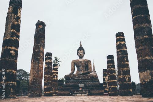Obraz na plátně old buddha temple in Sukhothai Province of Thailand, Thai temple is a landmark A