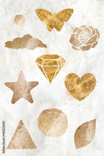Obraz na plátně Sparkly gold icon vector set