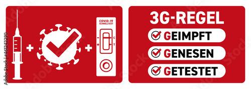 Leinwand Poster Coronavirus 3G-Regel geimpft rot Sticker 1
