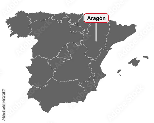 Obraz na plátně Landkarte von Spanien mit Ortsschild Aragon