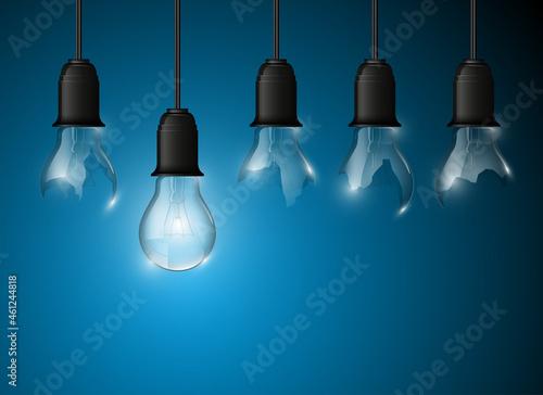 Canvastavla Broken light bulb illuminated, realistic illustration