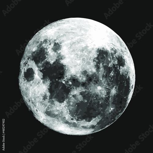 Full moon on a black background Fototapet
