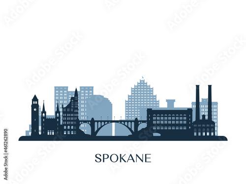 Canvas Spokane, WA skyline, monochrome silhouette. Vector illustration.
