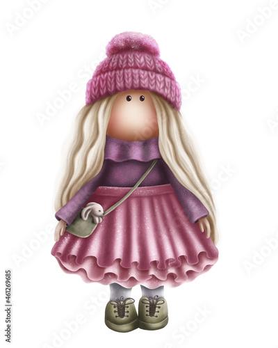 Fotografiet Cute doll in pink