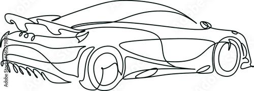 Obraz na plátně Car vector one line art. Line drawing car illstration