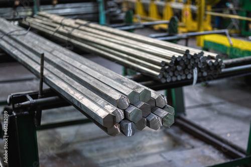 Canvastavla A bundle of hexagonal metal bars, steel mill products