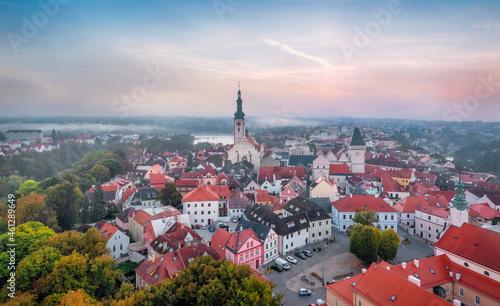 Fényképezés Tabor, Czechia. Aerial view of historic old town on sunrise