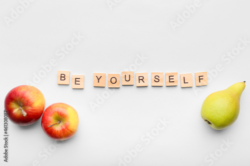 Lettering Be yourself on isolation