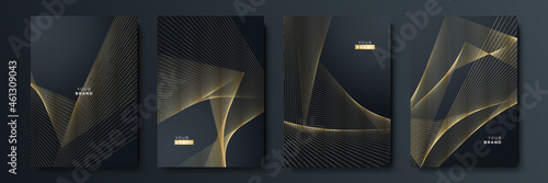 Abstract luxury gold black background with golden lines Fotobehang