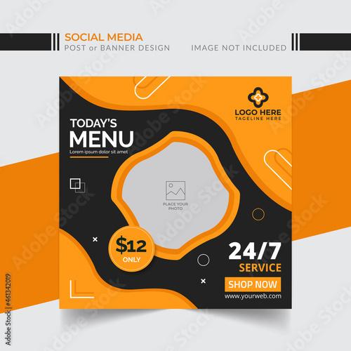 Obraz na plátně Today's special food menu banner social media template Vector