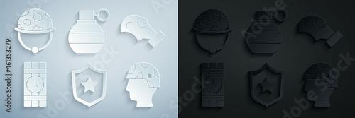 Obraz na plátně Set Military reward medal, Gas mask, Dynamite and timer clock, Army soldier, Hand grenade and helmet icon