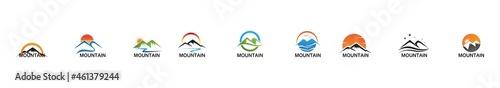 Fotografiet Mountain icon Logo Template Vector illustration design