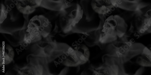 Canvas Print Seamless pattern scary skull emerging from a cloud of smoke