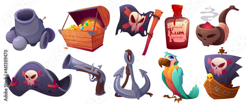 Foto Set pirate items cartoon icons cannon, treasure chest, flag with jolly roger and rum bottle