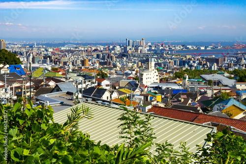神戸市灘区の風景、遠くに六甲アイランドが見えます 六甲山青谷道登山口にて Poster Mural XXL