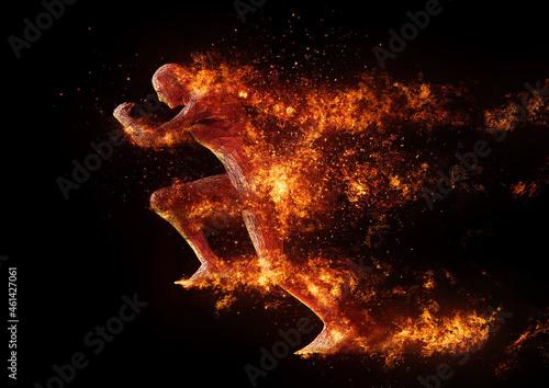 Photo エネルギーを燃やして走る人のイラスト