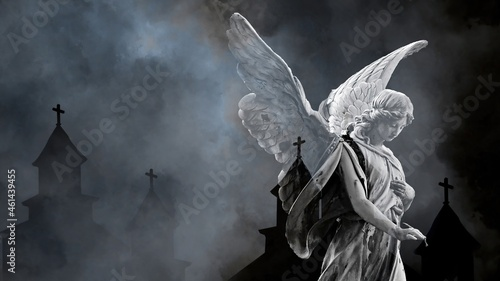 Canvas 3d illustration - woman angel  with wings and old Churches silhouettes  in backg