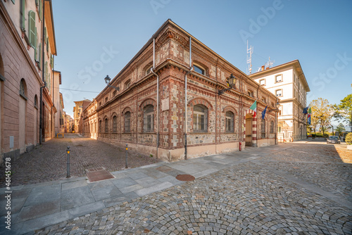 Cuneo, Piedmont, Italy - October 6, 2021: Faculty of Agriculture in the ancient buildings of the former slaughterhouse renovated in Piazza Torino and in Via Saluzzo
