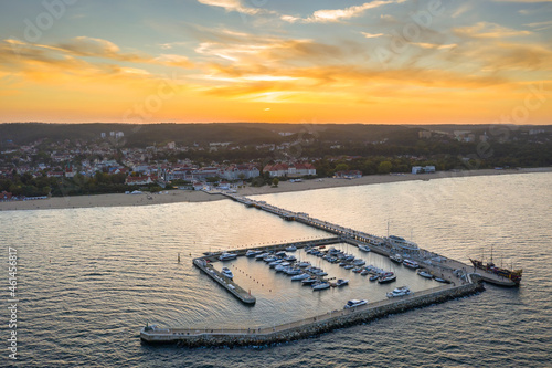Molo pier on the Baltic Sea in Sopot at sunset, Poland. Fototapet
