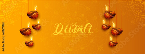 Photo Happy Diwali With Illuminated Oil Lamps On Glossy Orange Background For Happy Di