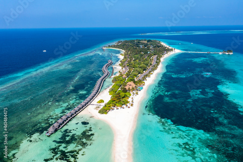 Obraz na plátně Aerial view, Kuredu with beaches and Palmtrees, Lhaviyani Atoll, Maldives, India