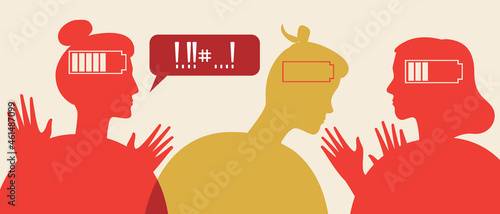 Fotografiet Cheating and jealousy in a couple, silhouette vector stock illustration with neg
