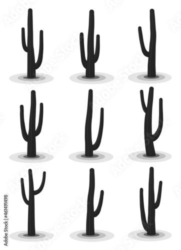 Canvastavla High detail vector silhouettes of saguaro cacti.