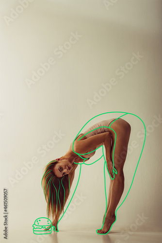 Portrait of young beautiful slim woman in lingerie isolated over gray background. Line art. Modern artwork