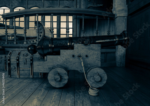 Canvas cannon in the pirate cabin