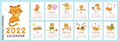 Obraz na plátně Cute tigers 2022 calendar, chinese new year tiger symbol