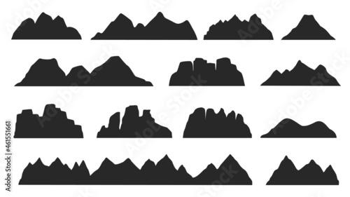 Foto Black mountain ridge landscape silhouette, rocky terrain elements