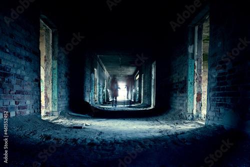 Fototapeta abandoned creepy corridor with ghoast in szentkiralyszabadja Hungary ghost tour