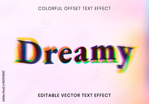 Editable Text Effect Layout with Colorful Offset Font