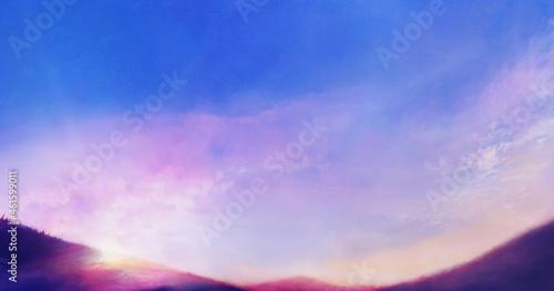 Canvas 朝焼けの空と山の風景イラスト