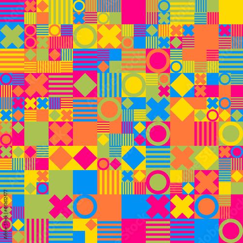 Valokuvatapetti Patrón geométrico con rayas, cuadrados, aros y cruces en colores vivos