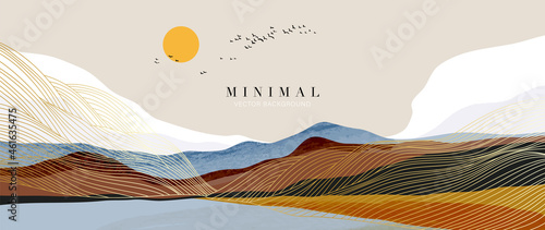 Mountain background vector. Minimal landscape art with watercolor brush and golden line art texture. Abstract art wallpaper for prints, Art Decoration, wall arts and canvas prints.