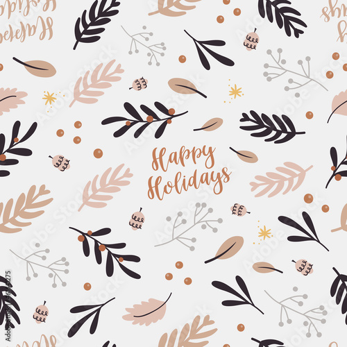 Wallpaper Mural Christmas seamless pattern with twigs.