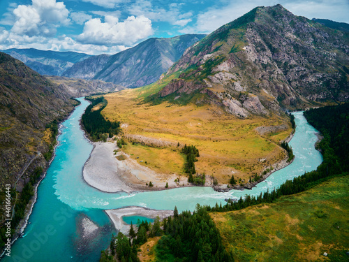 Photo The confluence of mountain rivers - Argut and Katun
