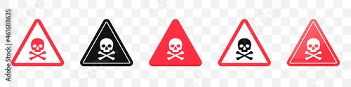 Foto Danger sign with skull and crossbones icons collection
