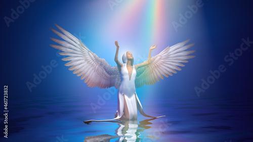 Obraz na plátně 3d illustration blessed light pours from the sky on an angel