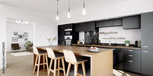 Fototapeta vue 3d cuisine noire avec îlot central