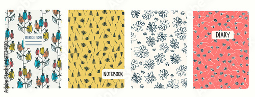 Fotografia Set of cover page templates based on seamless patterns with burdocks and wildflowers in Ditzy style