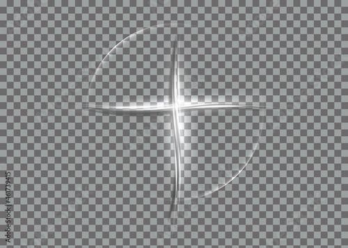 Canvastavla cross of light, shiny Cross with white lights frame symbol of christianity