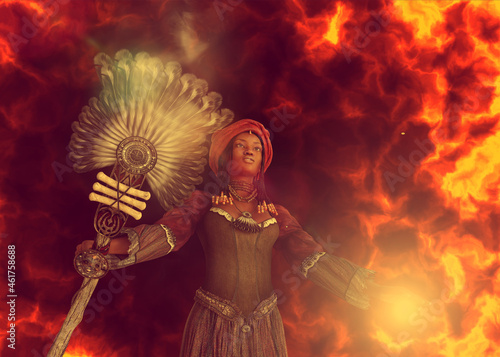 Fotografia 3D African witch conjuring