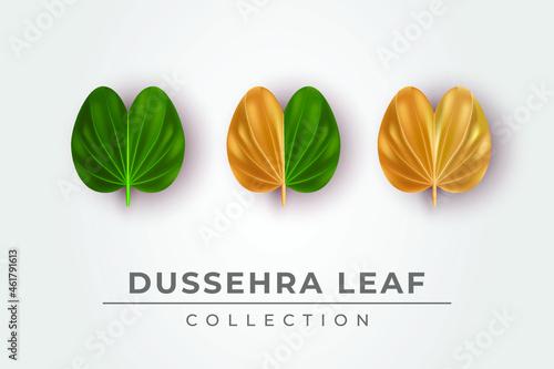 Canvas Print Illustration of beautiful Dussehra leaf collection set for happy Dussehra festiv